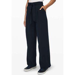 Lulu Noir Pants True Navy High Rise Wide Leg Belt